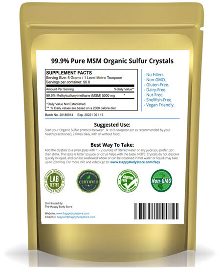 Happy body organic sulfur 1 lb pack back panel