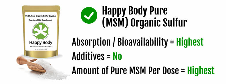 Happy Body Organic Sulfur is Pure, High Dose MSM, Perfect for Hair Health and Growth