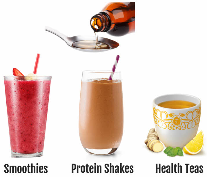 use msm drops with smoothies, protein shakes, health teas