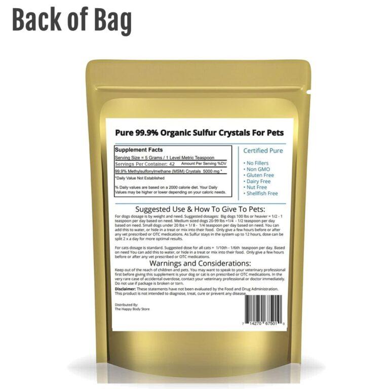 Pet Organic Sulfur Back of Bag