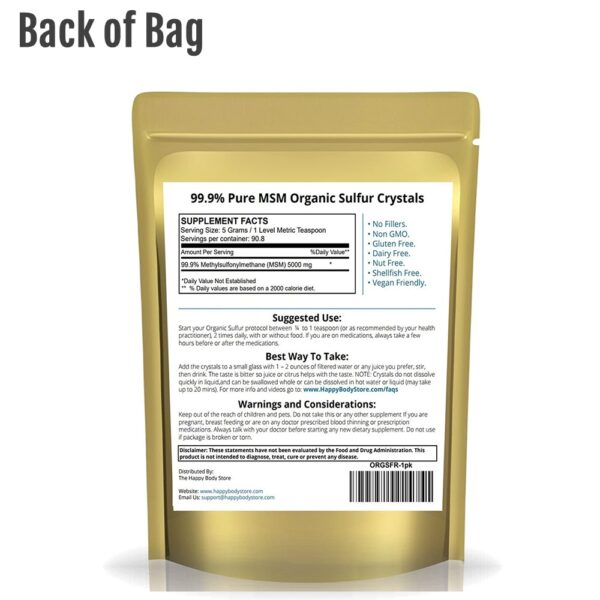 Organic Sulfur By Happy Body, Back of Bag