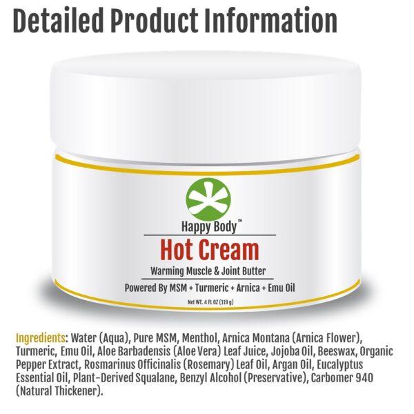 MSM, Turmeric Hot cream Ingredients