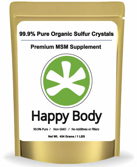 Happy body organic sulfur 1 lb pack front