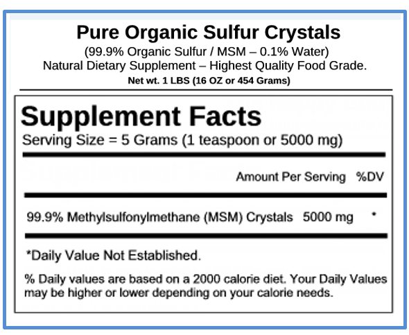 Supplement Facts Of Our Pure Organic Sulfur