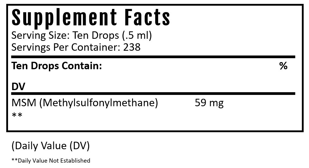 msm drops supplement facts