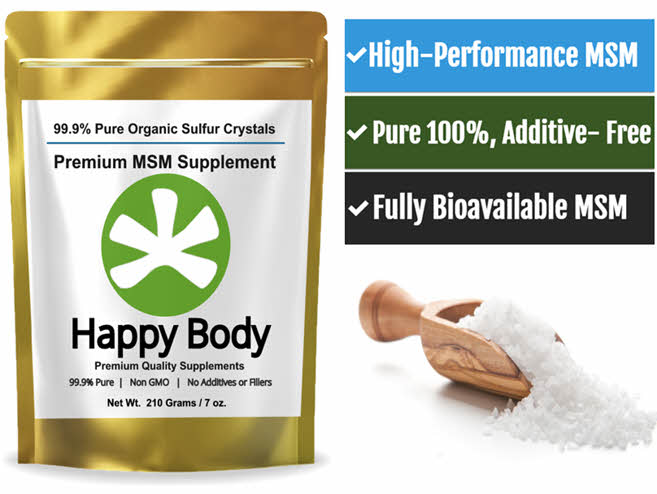Organic Sulfur / Sulphur, Pure MSM Supplement From Happy Body