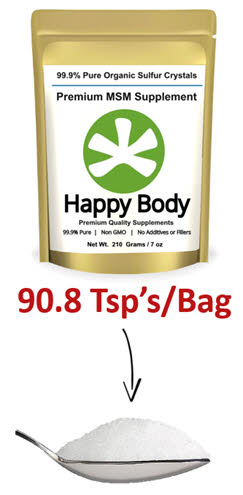 Over 90 tsps per bag if Happy Body MSM/Organic Sulfur